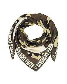 Green Camouflage Stars Printed Wool and Silk Wrap - Givenchy / ジバンシー