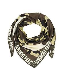 Kefiah de Seda y Algodón Estampado Camuflaje con Logo - Givenchy