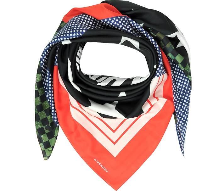 Patchwork and Signature Printed Cotton and Silk Wrap - Givenchy