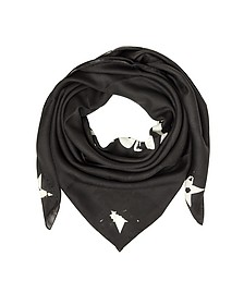 Black Wool and Silk Signature Wrap - Givenchy