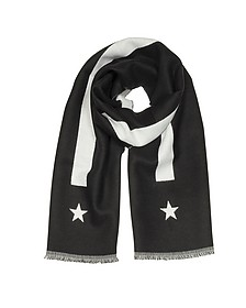 Stripe and Star-Intarsia Black Wool Long Scarf  - Givenchy