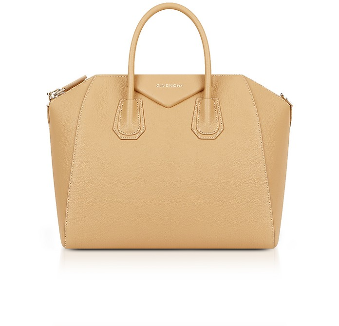 Light Beige Leather Medium Antigona Tote Bag - Givenchy