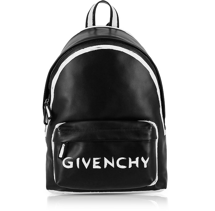 Black Leather Graffiti Logo Print Backpack  - Givenchy