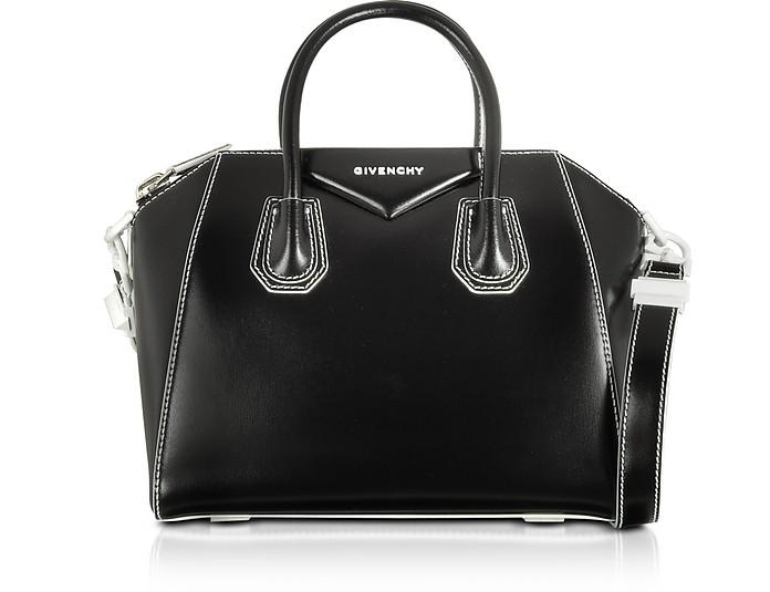 Black/White Shinny Leather Small Antigona Tote Bag - Givenchy