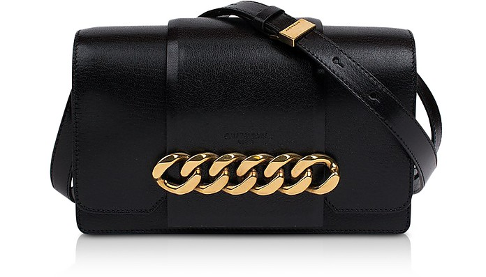 Black Leather Infinity Clutch w/Detachable Shoulder Strap - Givenchy