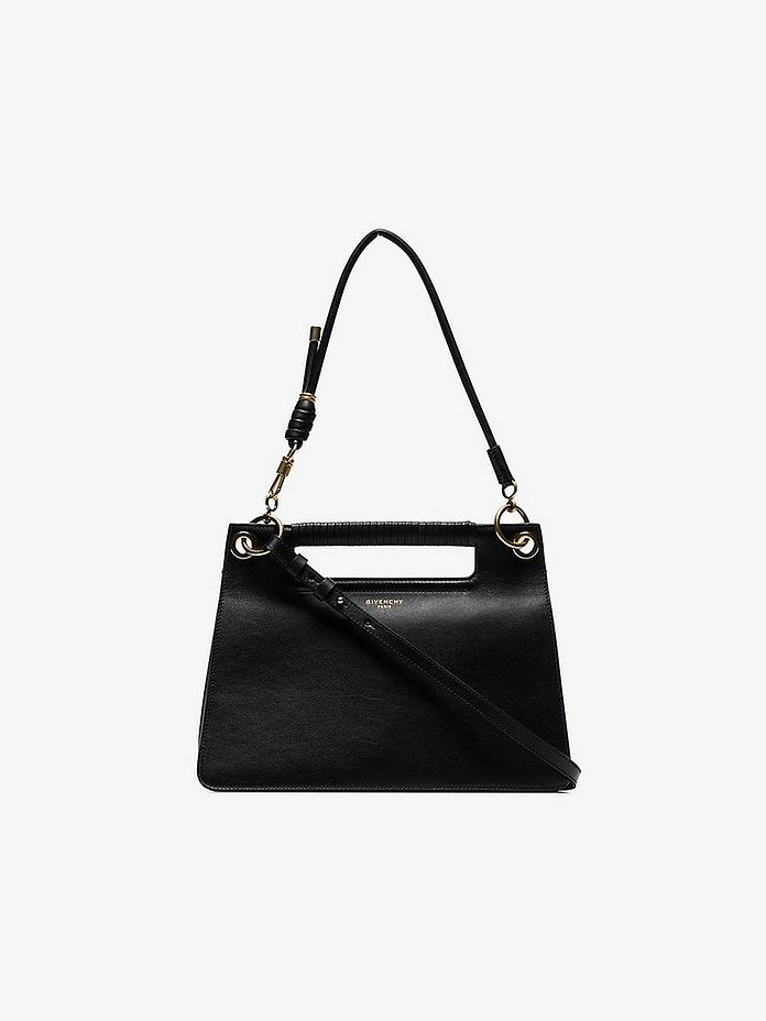 Black Medium whip-stitched leather shoulder bag - Givenchy