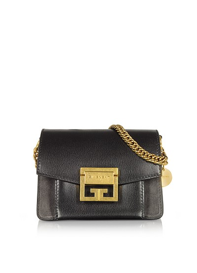 Mini GV3 Color Block Grained Leather Flat Shoulder Bag - Givenchy