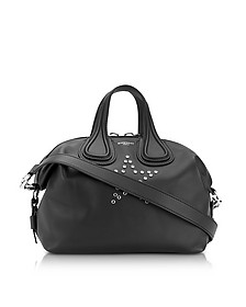 Nightingale w/Stars Black Leather Satchel Bag - Givenchy