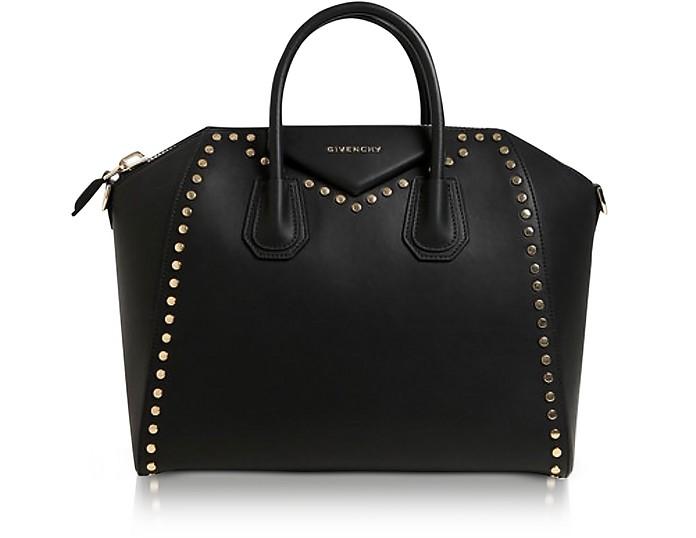 Antigona Medium Black Leather Studded Satchel Bag - Givenchy 4f35348a31419