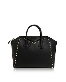 Antigona Medium Black Leather Studded Satchel Bag - Givenchy