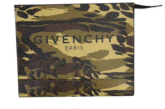 Medium Camouflage Printed Coated Canvas Clutch - Givenchy