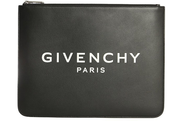 Black Leather Signature Clutch - Givenchy