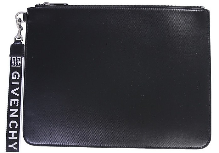 Black Canvas Clutch w/Detachable Signature Wristlet - Givenchy