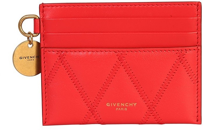 Red Quilted Leather GV3 Card Holder - Givenchy / ジバンシー