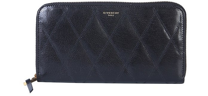 Black Quilted Leather Gv3 Zip-Around Wallet - Givenchy