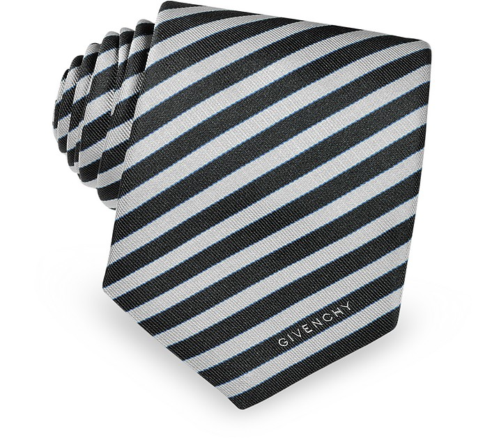 Narrow Silver Stripe Tie - Givenchy