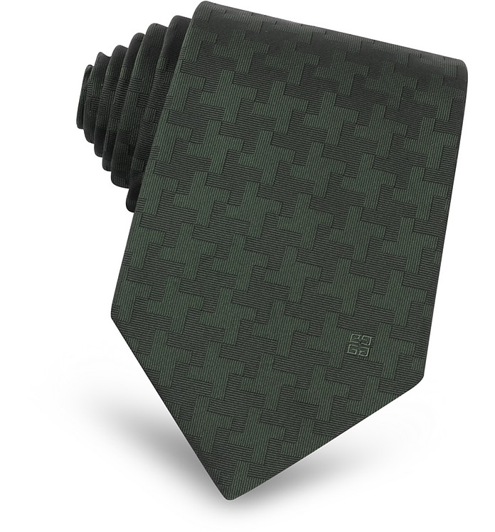 Geometric Pattern Woven Silk Narrow Tie - Givenchy