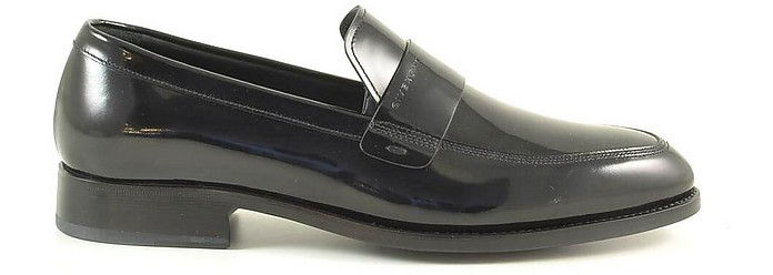 Black Shiny Leather Men's Loafer Shoes - Givenchy / ジバンシー