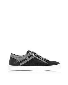 Black and Silver Glittered Canvas Low Top Sneakers - Hogan / ホーガン