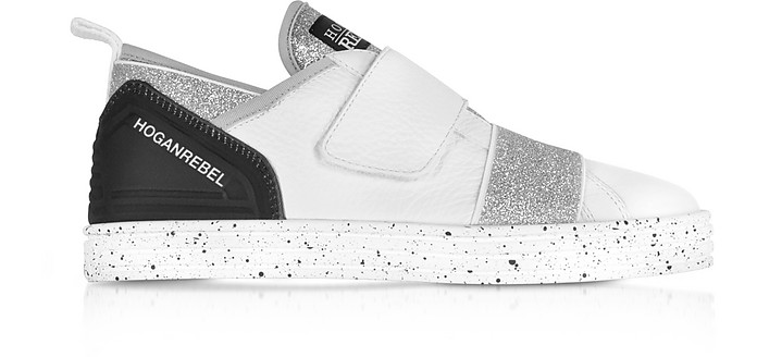 R141 White Leather and Lurex Low Top Sneakers w/Straps - Hogan