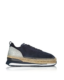 Deep Blue Perforated Suede Lace Up Sneakers w/Glitter - Hogan