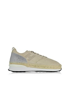 Beige Perforated Suede Lace Up Sneakers w/Glitter - Hogan