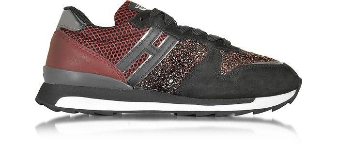 Running R261 Black and Burgundy Suede, High-tech Fabric and Glitter Women's Sneakers