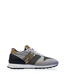 R261 Lurex, Suede and Metallic Leather Sneakers - Hogan
