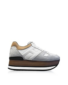 Maxi H222 Suede and Leather Ultra-light Wood-Effect Flatform Sneakers - Hogan