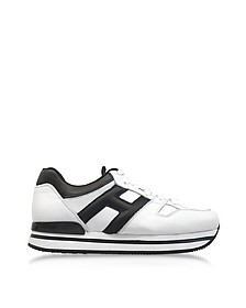 Maxi H222 Black and White Leather Ultra-Light EVA Sneakers - Hogan
