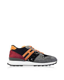 R261 Micro-sequins, Suede and Grainy-Leather Effect Sneakers - Hogan