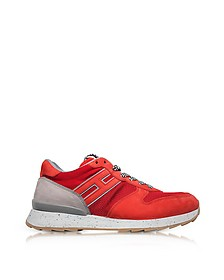 Running R261 Red Nylon and Nubuck Men's Sneakers - Hogan