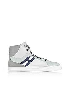 R141 - Sneakers Montantes Homme en Nylon et Cuir Multicolore - Hogan