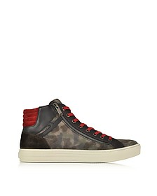 Multicolor Leather and Suede High Top Sneaker - Hogan