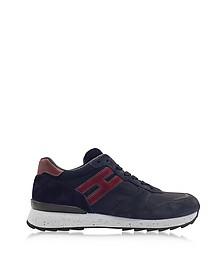 R261 Running Blue Suede and High-tech Net Fabric Sneakers  - Hogan