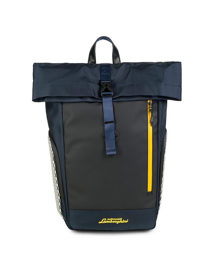 Galleria Blue Nylon Men's Backpack w/Foldover Top - Lamborghini Automobili