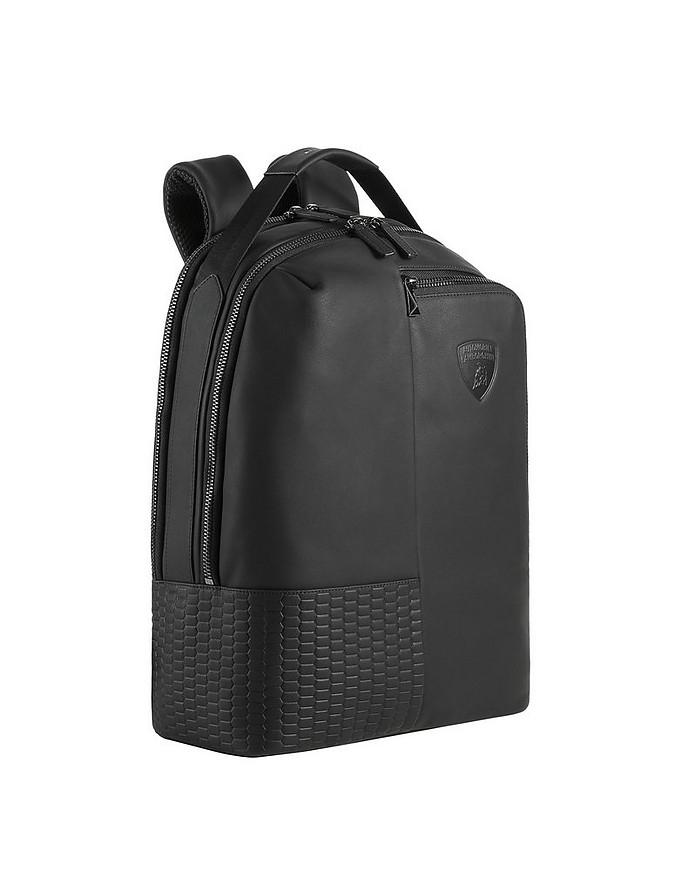 Engine Black Leather Men's Backpack - Lamborghini Automobili