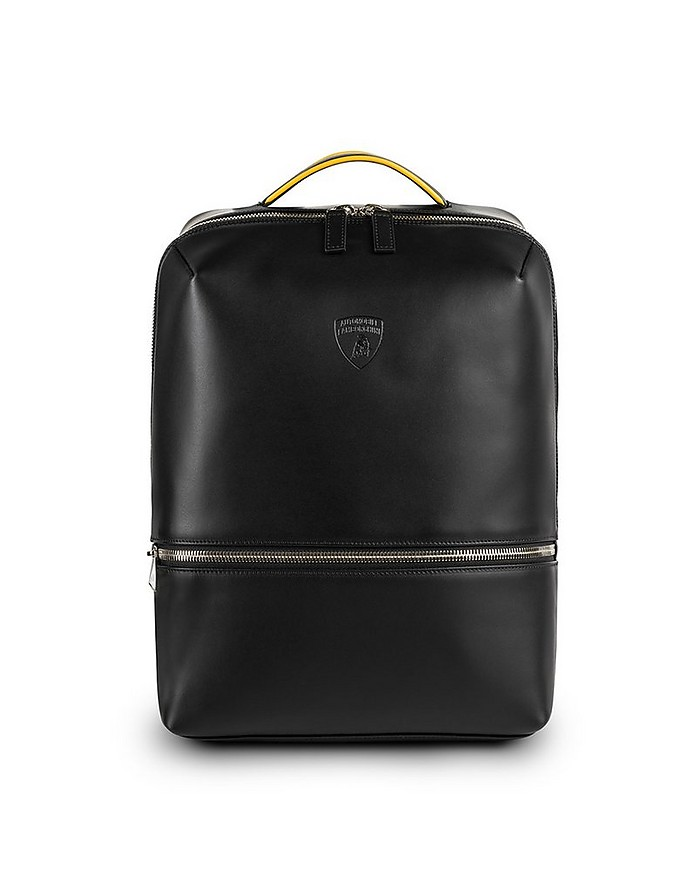 Pure Black Leather Men's Backpack - Lamborghini Automobili