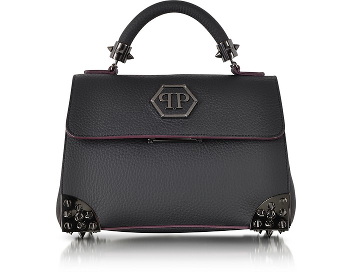a4847294cd Small Aggressive Borsa a Mano in Pelle Nera con Borchie - Philipp Plein