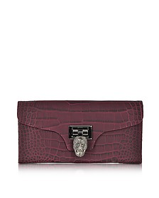 Bordeaux Embossed Leather Skull Clutch