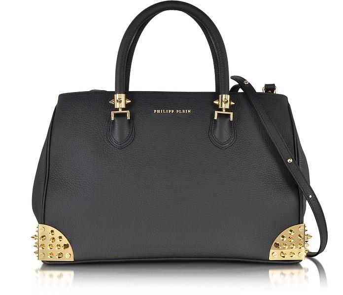 Jamelia Black Calf Leather Big Handbag - Philipp Plein