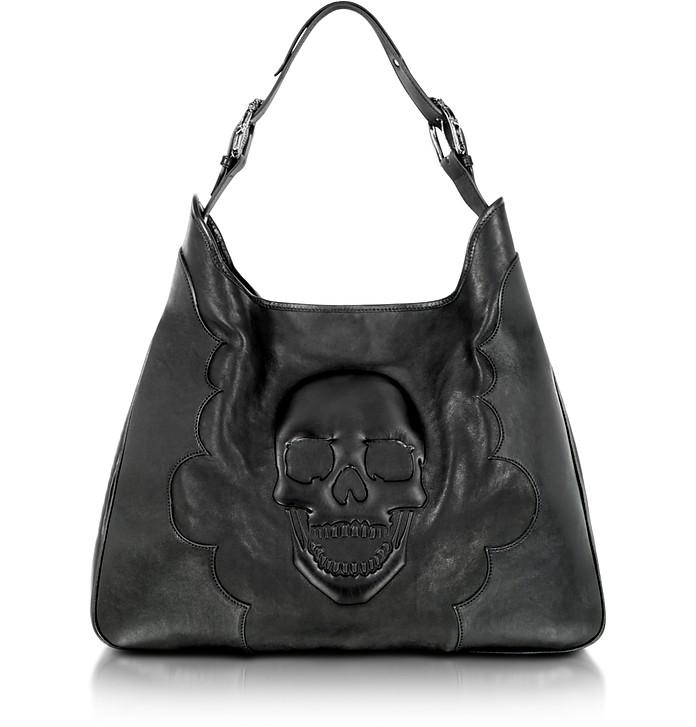 Skull Black Leather Shoulder Tote - Philipp Plein