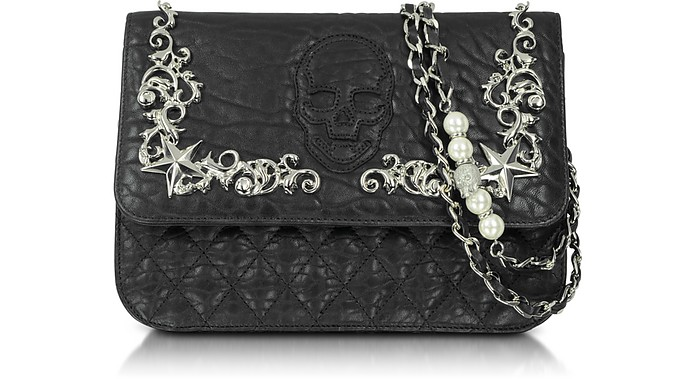 Baroque Skull Leather Shoulder Bag - Philipp Plein