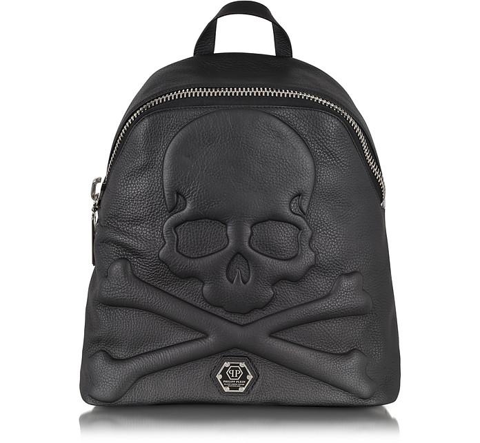 Black Leather Dark Skull Backpack - Philipp Plein