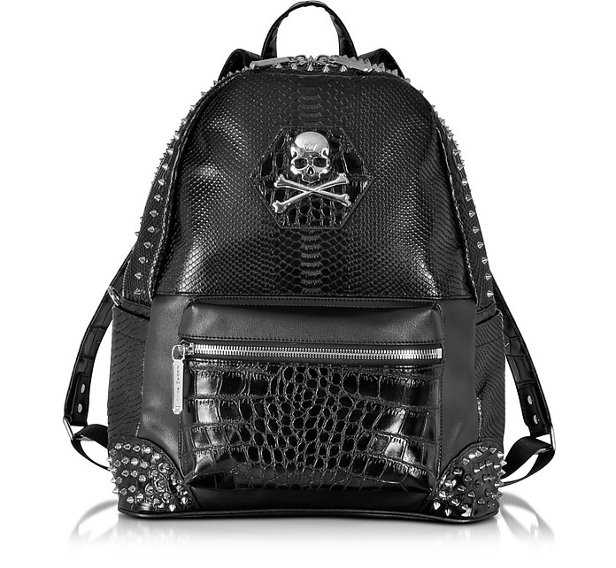Small Serious Black Studded Men's Backpack - Philipp Plein