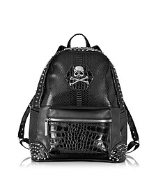 Small Serious Black Studded Men's Backpack