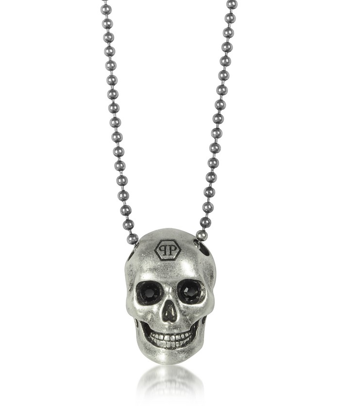 Silver Tone Metal Skull Necklace w/Black Crystals - Philipp Plein