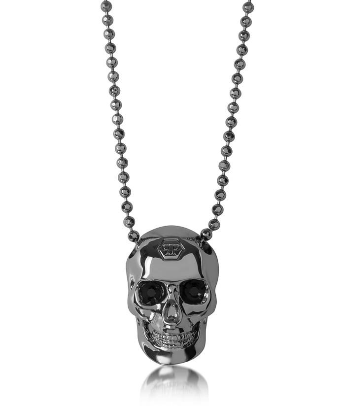 Black/Silver Tone Metal Skull Necklace w/Black Crystals  - Philipp Plein