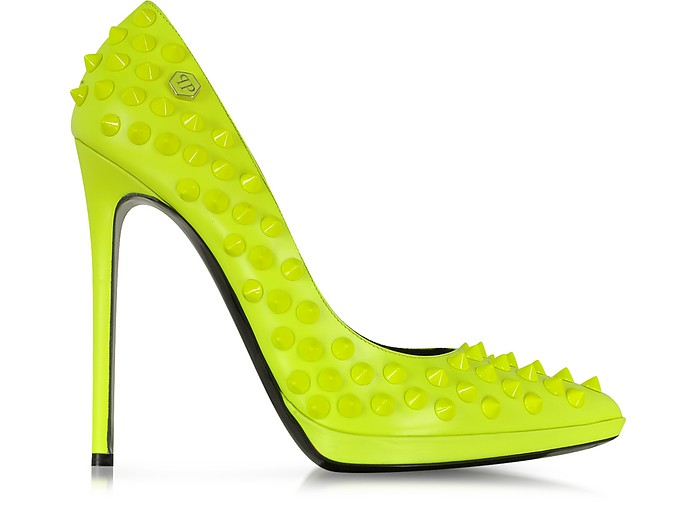 big sale exquisite design footwear Neon Yellow High Heels Pop Studded Pump