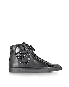 Skully Black Leather Sneaker